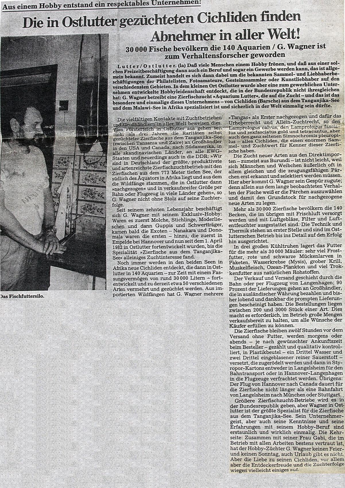 Aquarium Lutter Zeitungsausschnitt